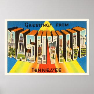 Nashville Tennessee TN Old Vintage Travel Souvenir Poster