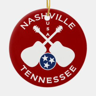 Nashville, Tennessee USA Double-Sided Ceramic Round Christmas Ornament