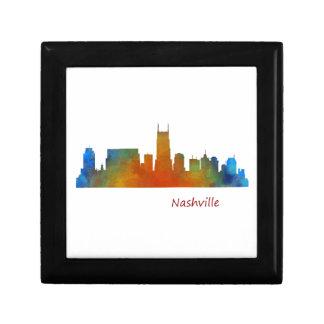 Nashville Tennessee watercolor Skyline art v1 Keepsake Box