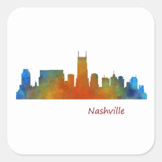 Nashville Tennessee watercolor Skyline art v1 Square Sticker