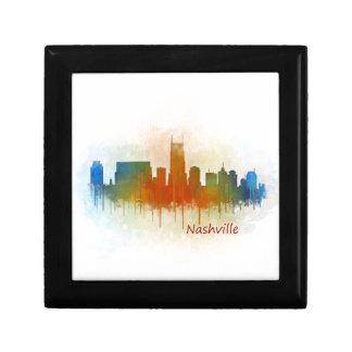 Nashville Tennessee watercolor Skyline art v3 Keepsake Box