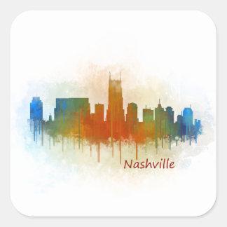 Nashville Tennessee watercolor Skyline art v3 Square Sticker