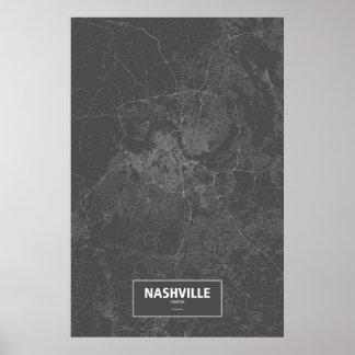 Nashville, Tennessee (white on black) Poster