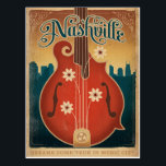 "Nashville, TN - Flower Mandolin Postcard<br><div class=""desc"">Anderson Design Group is an award-winning illustration and design firm in Nashville,  Tennessee. Founder Joel Anderson directs a team of talented artists to create original poster art that looks like classic vintage advertising prints from the 1920s to the 1960s.</div>"