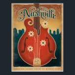 """Nashville, TN - Flower Mandolin Postcard<br><div class=""""desc"""">Anderson Design Group is an award-winning illustration and design firm in Nashville,  Tennessee. Founder Joel Anderson directs a team of talented artists to create original poster art that looks like classic vintage advertising prints from the 1920s to the 1960s.</div>"""