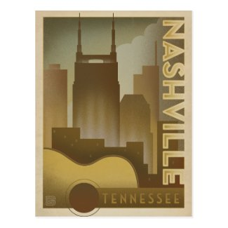 Nashville, TN - Guitar Skyline Postcard