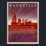 "Nashville, TN - Night Skyline Postcard<br><div class=""desc"">Anderson Design Group is an award-winning illustration and design firm in Nashville,  Tennessee. Founder Joel Anderson directs a team of talented artists to create original poster art that looks like classic vintage advertising prints from the 1920s to the 1960s.</div>"