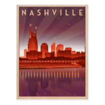 Nashville, TN - Night Skyline Postcard