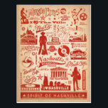 """Nashville, TN - Pattern Print Postcard<br><div class=""""desc"""">Anderson Design Group is an award-winning illustration and design firm in Nashville,  Tennessee. Founder Joel Anderson directs a team of talented artists to create original poster art that looks like classic vintage advertising prints from the 1920s to the 1960s.</div>"""