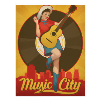 Nashville, TN - Pin Up Girl Postcard