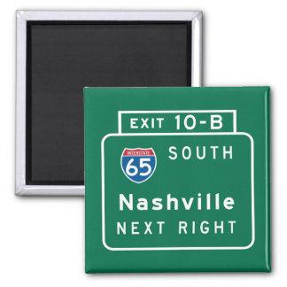 Nashville, TN Road Sign 2 Inch Square Magnet