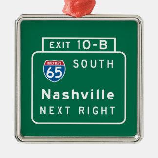 Nashville, TN Road Sign Metal Ornament