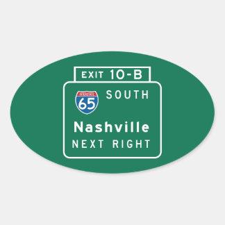 Nashville, TN Road Sign Oval Sticker