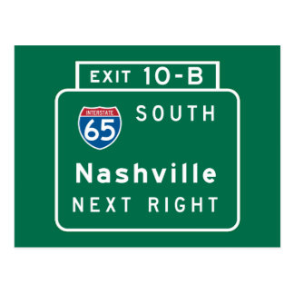 Nashville, TN Road Sign Postcard