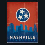 "Nashville, TN - State Flag Postcard<br><div class=""desc"">Anderson Design Group is an award-winning illustration and design firm in Nashville,  Tennessee. Founder Joel Anderson directs a team of talented artists to create original poster art that looks like classic vintage advertising prints from the 1920s to the 1960s.</div>"