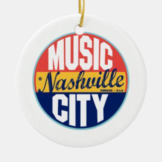 Nashville Vintage Label Double-Sided Ceramic Round Christmas Ornament