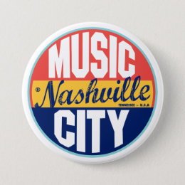 Nashville Vintage Label Pinback Button