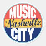 Nashville Vintage Label Round Stickers