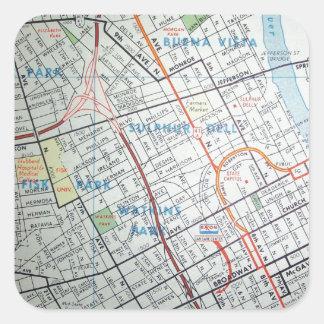 NASHVILLE Vintage Map Square Sticker