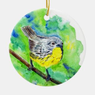 Nashville Warbler - watercolor pencil Ceramic Ornament