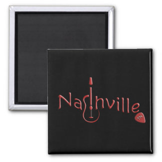 NASHVILLE WITH PICK 2 INCH SQUARE MAGNET