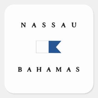 Nassau Bahamas Alpha Dive Flag Square Stickers
