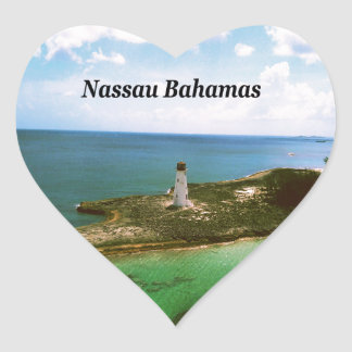 Nassau Bahamas, lighthouse  in harbor Heart Sticker