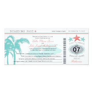 Nassau Bahamas Wedding Boarding Pass Personalized Invites