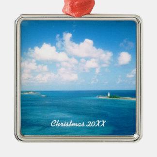 Nassau Harbor Dated Metal Ornament