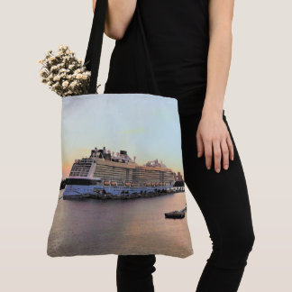Nassau Harbor Daybreak with Cruise Ship Tote Bag