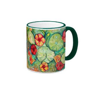 """Nasturtium Fantasy"" Ringer Coffee Mug"