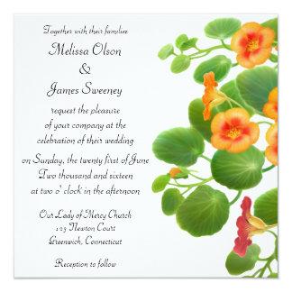 """Nasturtium Floral Garden Wedding Invitation 5.25"""" Square Invitation Card"""