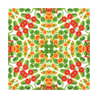 Nasturtium Floral Geometric Pattern Wrapped Canvas
