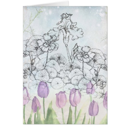 Nasturtium Iris Tulip Flower Drawing Note Card