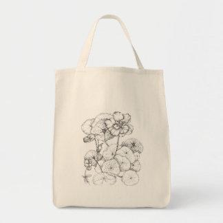 Nasturtium Pen and Ink Flower Drawing Art Tote Bag