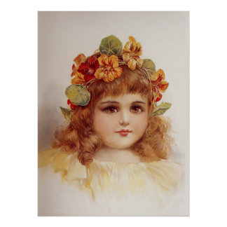Nasturtium Wreath Poster