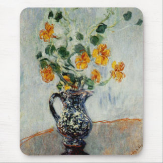 Nasturtiums in a Blue Vase by Monet Mouse Pad