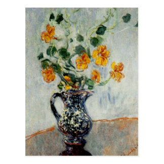 Nasturtiums in a Blue Vase by Monet Post Card