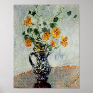 Nasturtiums in a Blue Vase by Monet Poster