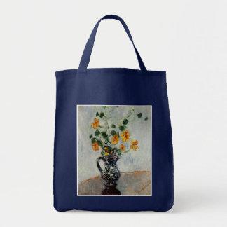 Nasturtiums in a Blue Vase by Monet Tote Bag