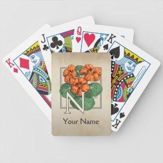 Nasturtiums Personalized Flower Monogram Bicycle Playing Cards