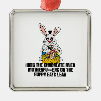 Nasty Easter bunny Metal Ornament