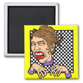Nasty face with checkered background 2 inch square magnet