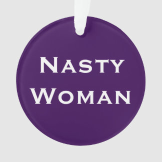 Nasty Woman, bold text on light and dark purple Ornament