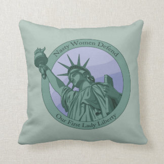 Nasty Woman First Lady Statue Of Liberty Throw Pillow