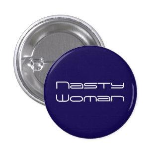 Nasty Woman - futuristic white text on dark blue Button