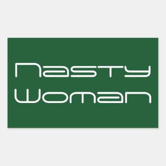 Nasty Woman, futuristic white text on green Rectangular Sticker