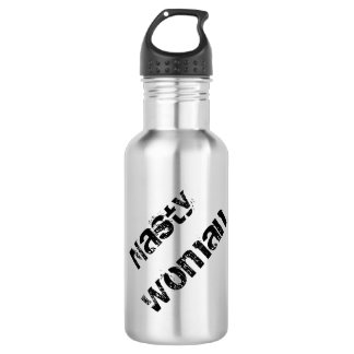 Nasty Woman, grungy black text on silver Water Bottle