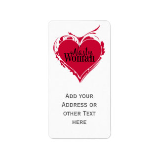 NASTY WOMAN red art HEART + your name Label