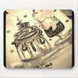 Nata del café de la pintada tapetes de ratón